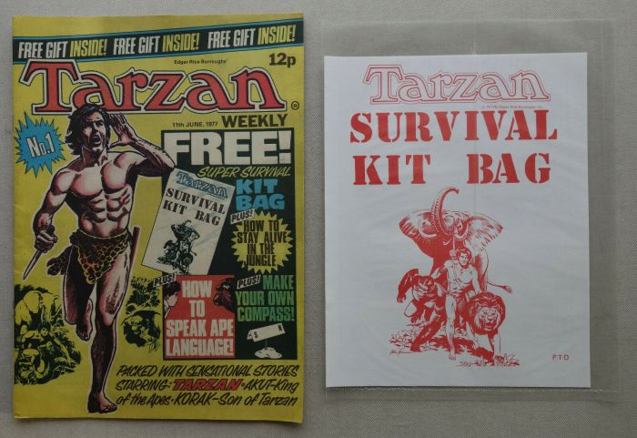Tarzan Weekly Number 1, cover dated 11th June 1977, with free Survival Kit gift