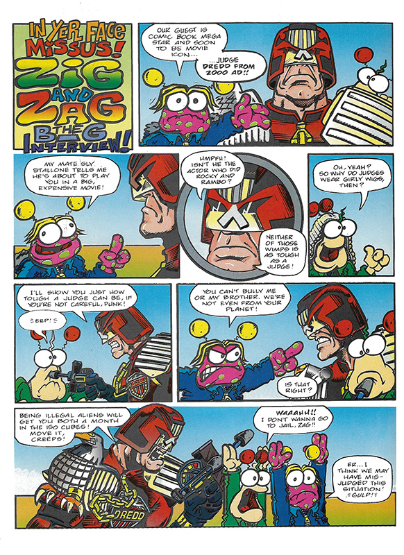 Fleetway owned Judge Dredd back in 1994, so this Zig and Zag crossover was completely legit. Probably not 2000AD canon, though. With thanks to Michael Carroll