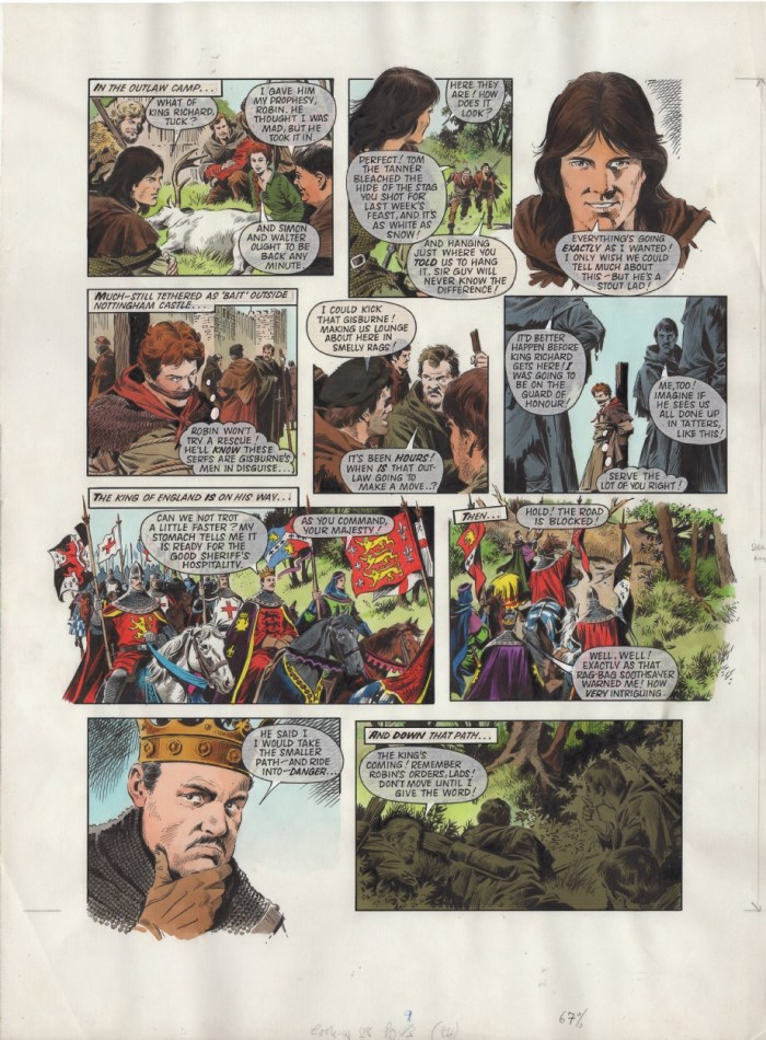 Art for a 1984 episode of Robin of Sherwood strip drawn by Mike Noble. Via ComicArtFans