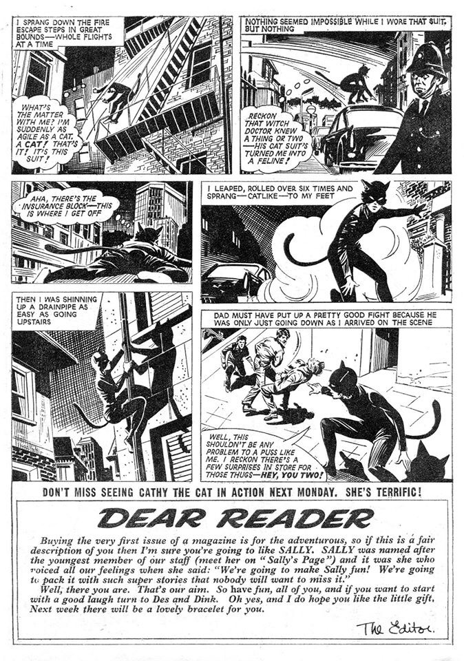 Sally - The Cat Girl Page 3 - Issue One cover dated 14th June 1969