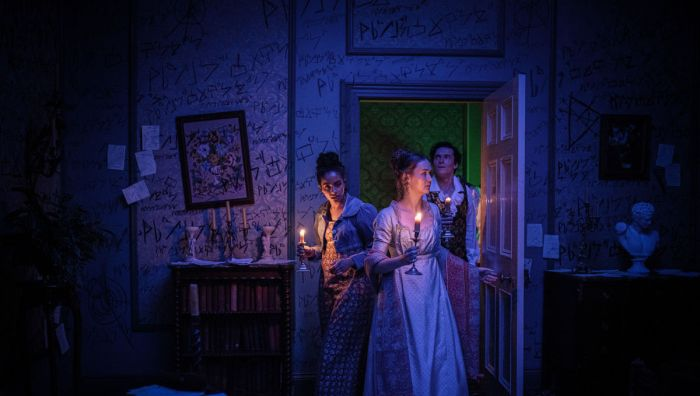 Mandip Gill as Yaz, Lili Miller as Mary Wollstonecraft Godwin, Jacob Collins-Levy as Lord Byron in Doctor Who - The Haunting Of Villa Diodati. Photo Credit: James Pardon/BBC Studios/BBC America