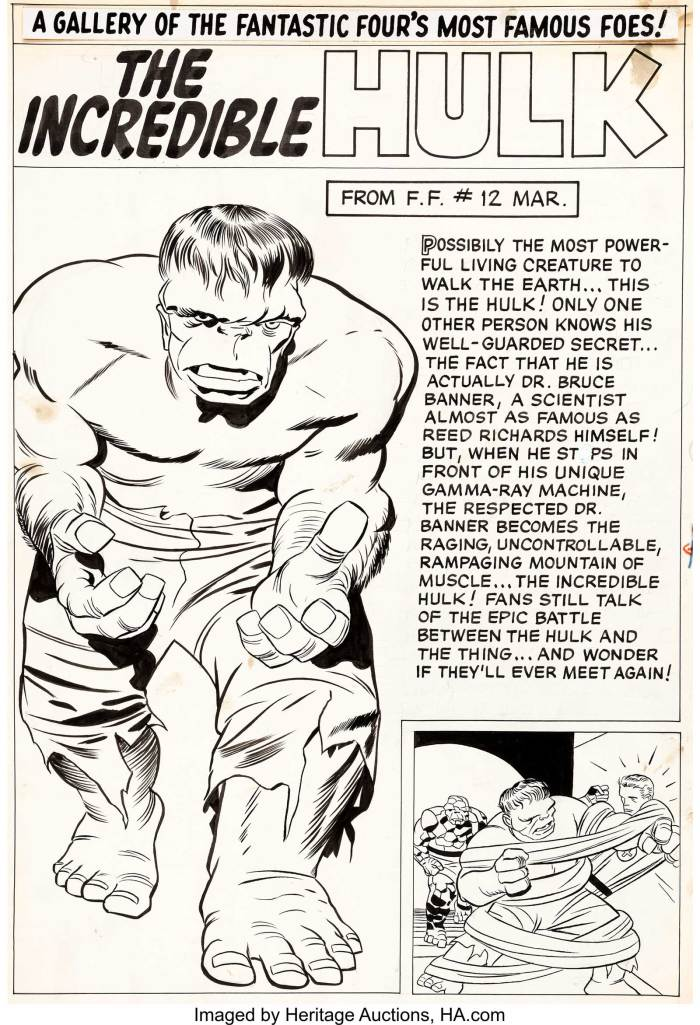 "Jack Kirby Fantastic Four Annual #1 ""The Incredible Hulk"" Pin-Up Original Art (Marvel, 1963). This absolutely classic pin-up page is the very first Hulk pin-up from Marvel. To make it even cooler, the text mentions the Hulk's battle with the Fantastic Four's Thing from the (then) recent FF #12. It is a bold image that has been burned into the minds of generations of comic fans and art collectors as the definitive rendition of one of the Marvel Universe's greatest superheroes..."