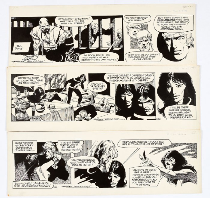 Garth: The Beast of Ultor: three original artworks (1974) drawn and signed by Frank Bellamy from the Daily Mirror 11 March, 14th/26th April 1974