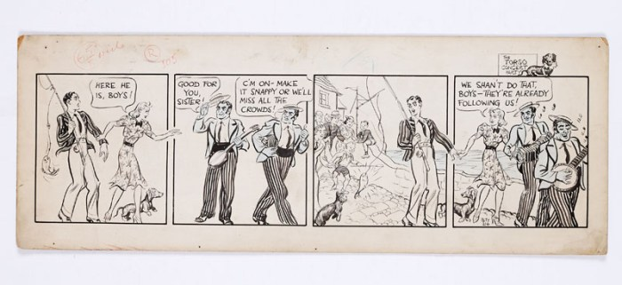 "Jane original artwork strip, ""The Torso Concert Party"" drawn and signed by Norman Pett for the Daily Mirror, 5th August 1939"