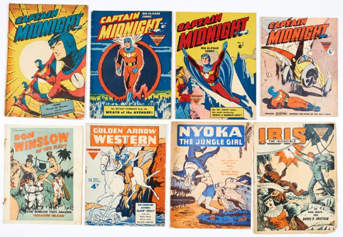 L Miller photogravure pilot issues (1946-51) - Captain Midnight 10-13, Don Winslow, Golden Arrow 6, Ibis 5 and Nyoka