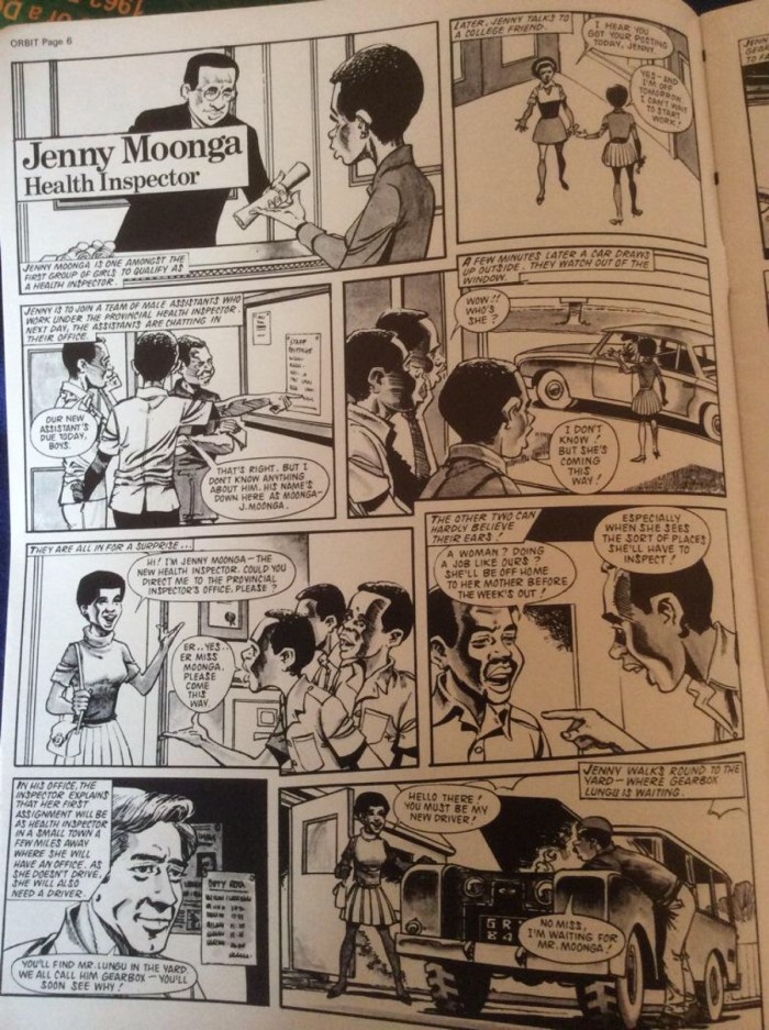 """""""Jenny Moonga, Health Inspector"""", drawn by Peter Ford, from Zambia's Orbit magazine"""