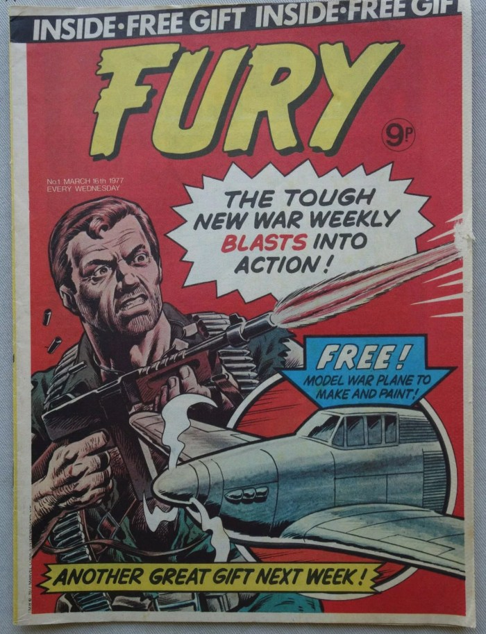 Fury Issue One, cover dated 16th March 1977 - cover by Dave Gibbons