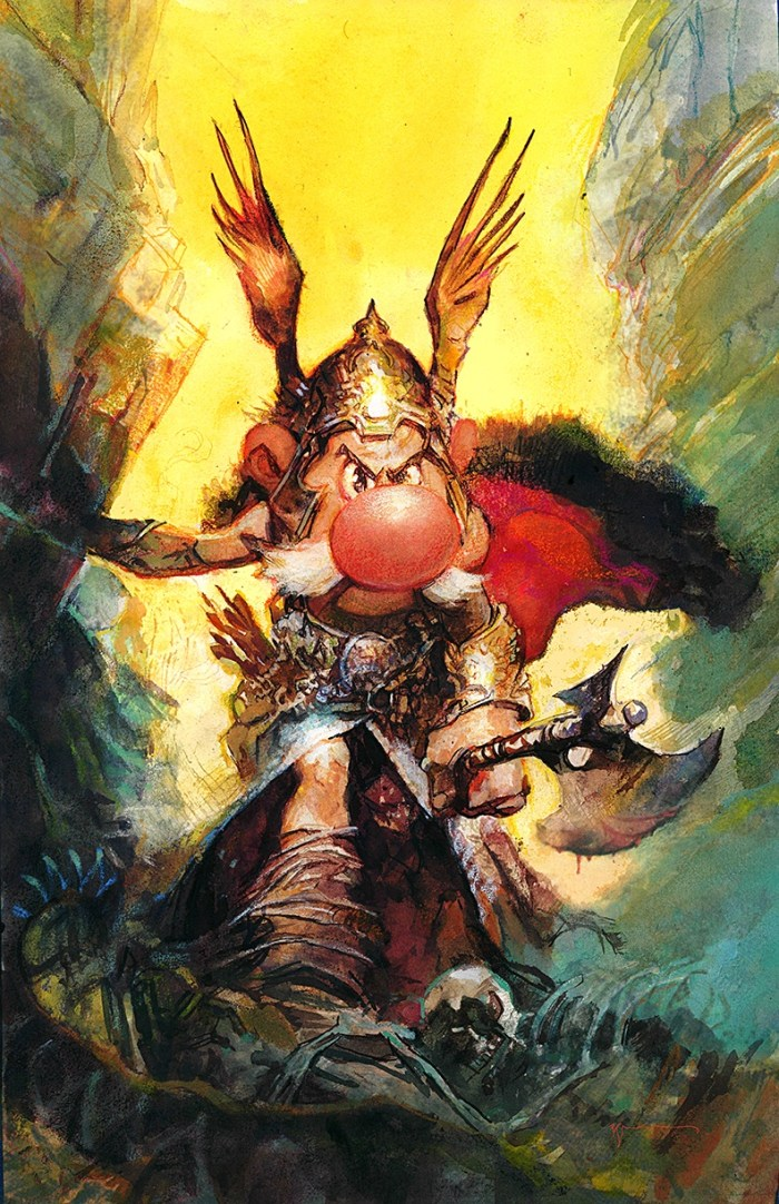 "Artist Bill Sienkiewicz mashup painting of Uderzo and Frazetta ""because of course"" he commented"