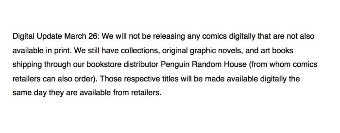 Dark Horse Comics - Comic Retailers Statement 26th March 2020 - Digital Comics
