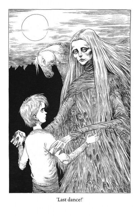 An illustration from The Graveyard Book, art by Chris Riddell