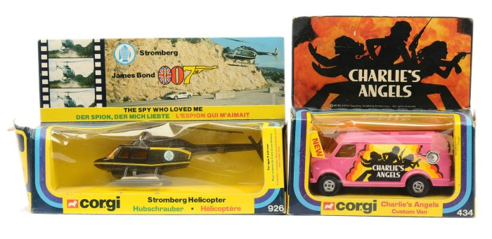 """Corgi 434 """"Charlie's Angels"""" Custom Van - pink, 4-spoke wheels (1st issue) and 926 """"James Bond"""" Stromberg Helicopter - black, yellow with some Missiles attached to sprue"""