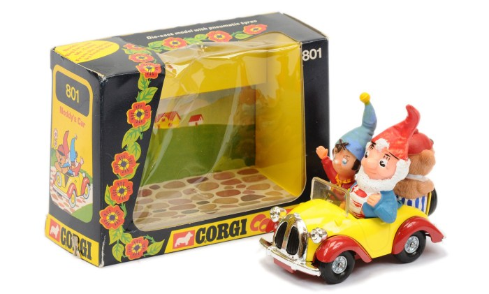 """Corgi 801 """"Noddy's"""" Car - finished in yellow, red, chrome trim, with """"Noddy, Big Ears and Tubby Bear"""" figures"""