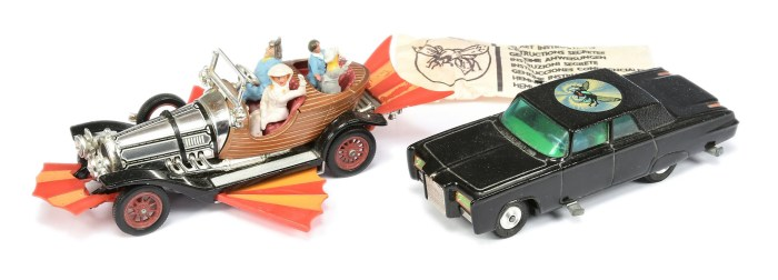 """Corgi, unboxed pair - """"Chitty Chitty Bang Bang"""" with """"Caractacus Potts, Truly Scrumptious, Jeremy and Jemima"""" figures, and """"The Green Hornet"""" Black Beauty - black, spun hubs, complete with secret instruction pack containing folded leaflet, missile and spinner"""