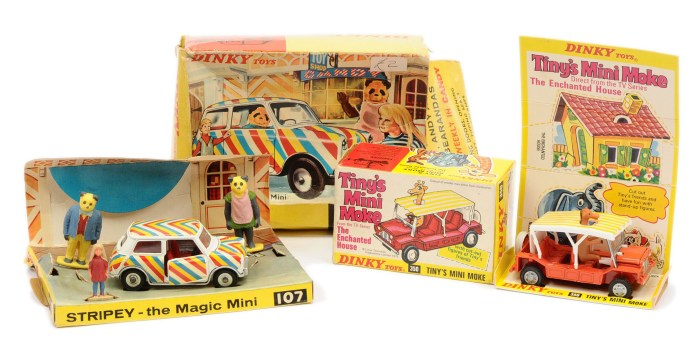 """Dinky 107 """"Stripe"""" Magic Mini - finished in white, red interior with red, yellow, blue and white stripes, chrome spun hubs - and 350 """"The Enchanted House"""" Tiny's Mini Moke."""
