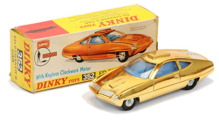 """Dinky 352 """"UFO"""" Ed Straker's Car - gold plated finish, blue interior, silver trim and engine cover, cast hubs"""