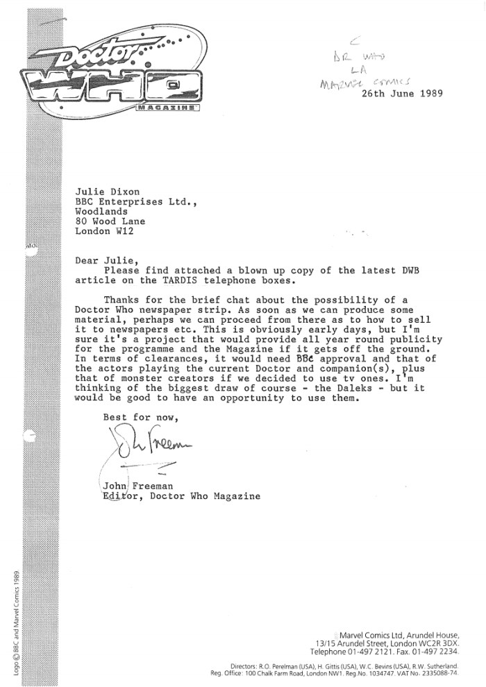 Doctor Who Newspaper Strip - Doctor Who Magazine editor John Freeman's initial letter dated 26th June 1989