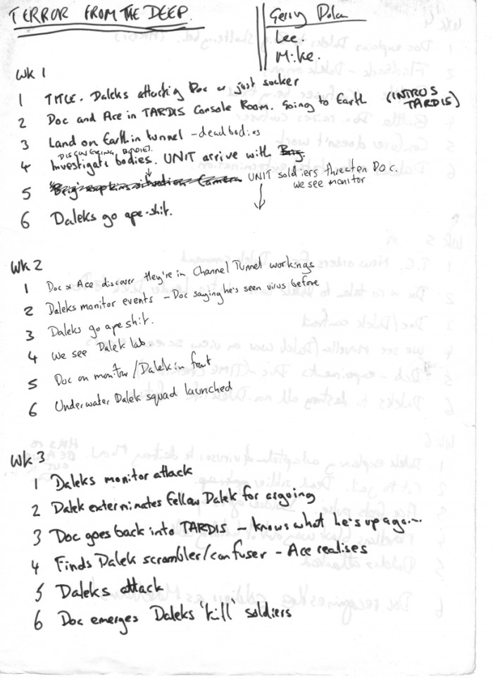 "A hand-written outline for early episodes of ""Terror from the Deep"", a Doctor Who newspaper strip written by John Freeman in 1989"