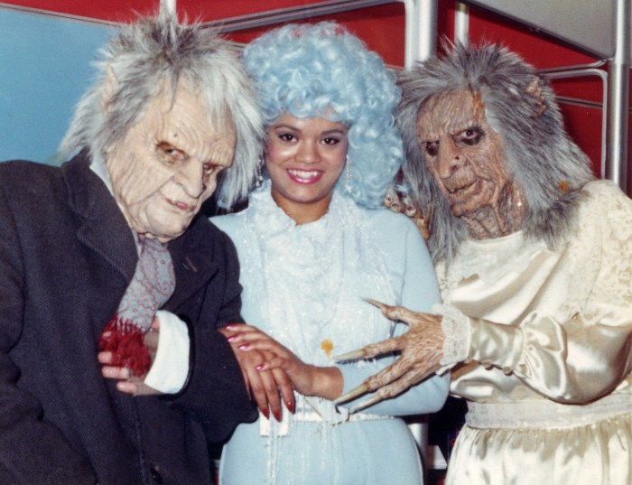 Kevin Davies as as Yung-Star, a look created by Sue Moore, singer Moya Griffiths as Kate Kestrel and Sue herself wearing a human sized copy of the Zelda puppet from Gerry Anderson's series Terrahawks. Sue sculpted the original and the copy. Photo courtesy Kevin Davies