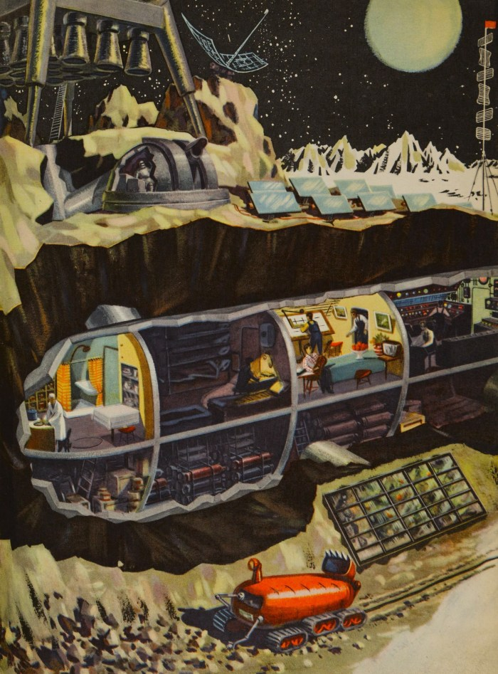 Technology for the Youth, issue 2, 1959, illustration by B. Dashkov for the article 'What Would a Space Station on the Moon Look Like?' Image courtesy of The Moscow Design Museum, from Soviet Space Graphics
