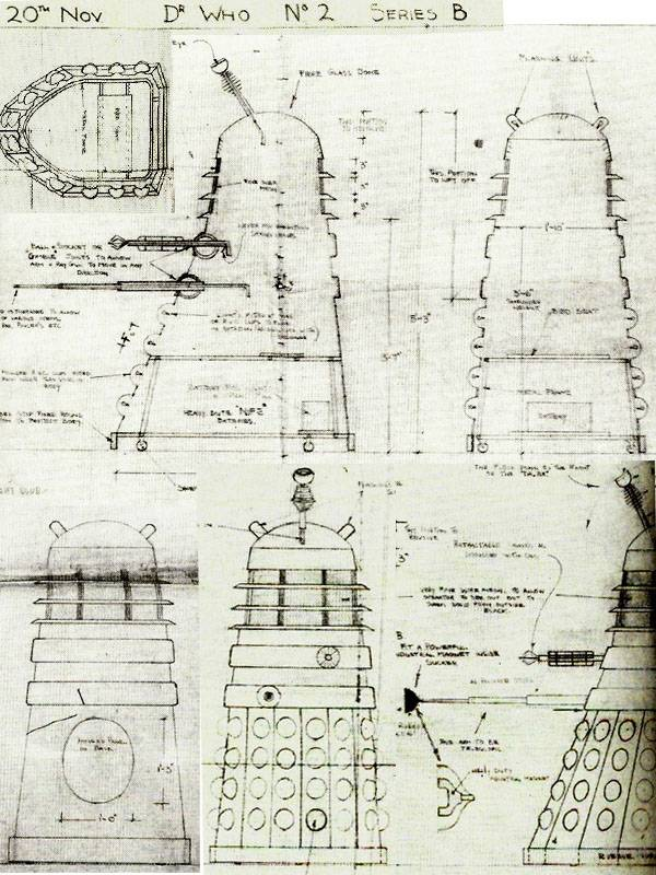 """What purport to be the oldest available plans of a Dalek are credited to draftsman A. Webb (Tony Webb) based on Raymond Cusick's outlines. Webb also had a small part to play in the actual design of the Daleks as it had been he who had sat on a chair against a wall for Cusick and BBC trainee, Jeremy Davies, to measure for the general size of the props. The plans themselves are headed """"Zero 20th Nov"""" which would have been the deadline for the project and they are dated 27/10/63. Via Dalek 63•88"""