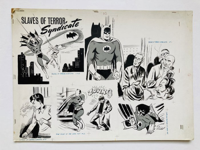 Batman: 'Slaves of Terror Syndicate' original artwork from the Batman Story Book Annual 1966