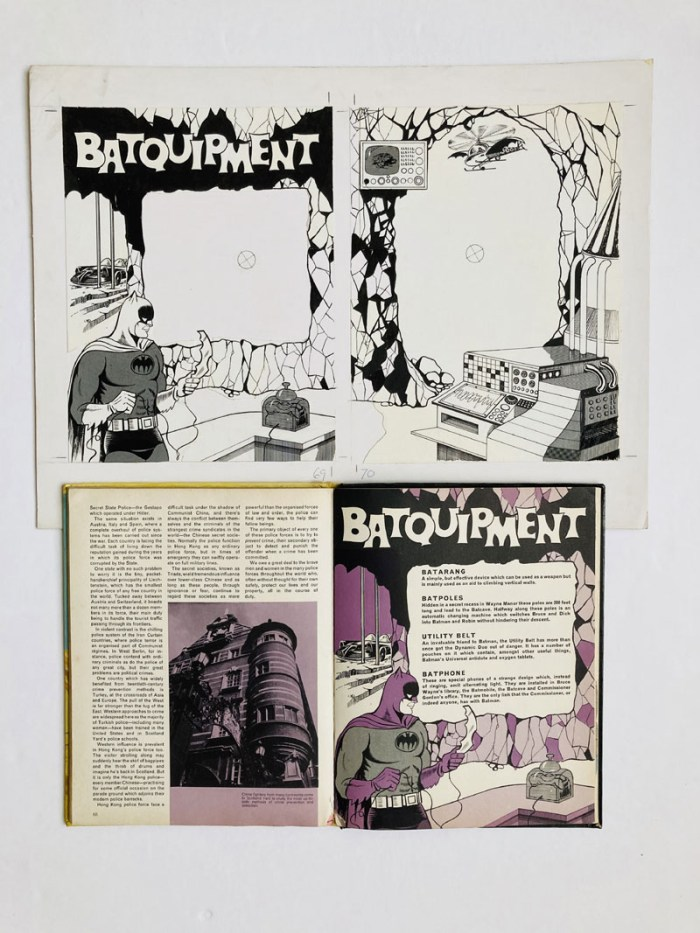'Batquipment' original two page artwork by John Leeder from the Batman Story Book Annual 1967. Indian ink and half-tone on board. 14 x 18 ins with original annual