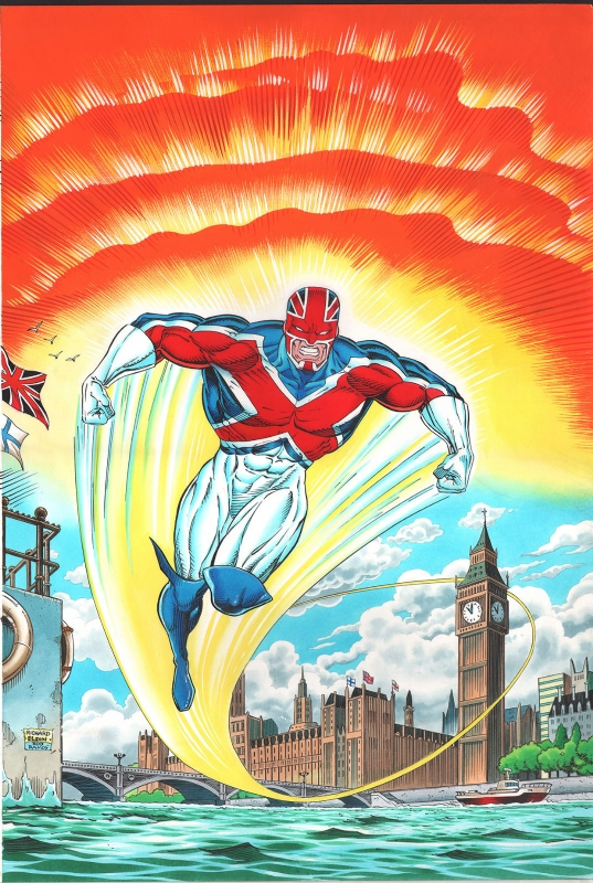 Captain Britain Autumn Special 1992 Cover - Pencils by Richard Elson, inks by Rodney Ramos, coloured by John Burns   Via S Smith on ComicArtFans
