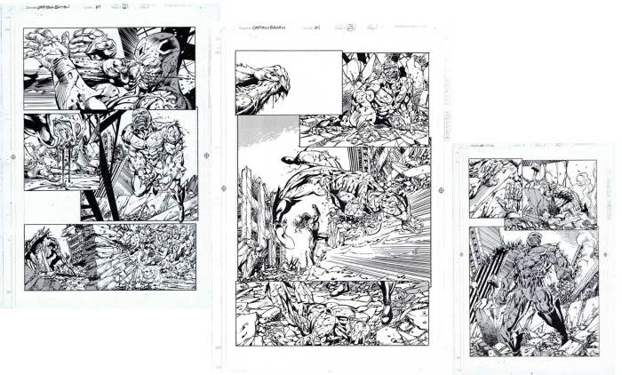 Unpublished pages from an abandoned Marvel UK Captain Britain project, written by Dan Abnett, art by Andrew Currie and Bryan Hitch