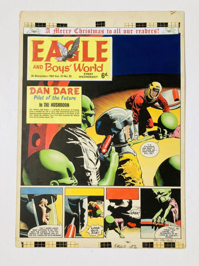 Dan Dare original front cover artwork (1969) by Keith Watson for The Eagle Volume 15, No 52. As Digby is taken hostage, Dan Dare floors the Mekon! Bright watercolour on board. Eagle title headers are added to complete the look of the artwork. They are not stuck down. 21 x 15 ins