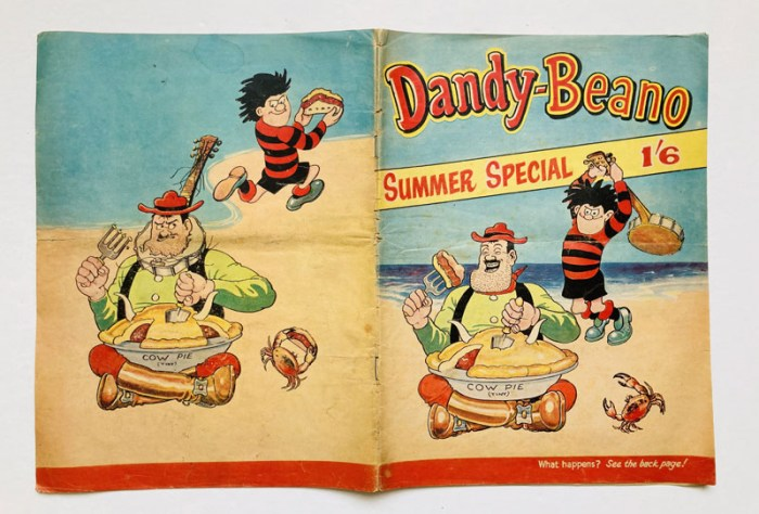 Dandy-Beano Summer Special 1 (1963). The first DC Thomson publication to combine Beano and Dandy characters. Desperate Dan, Dennis the Menace, Biffo, Korky, Roger the Dodger, General Jumbo - and Corporal Clott all present and incorrect!