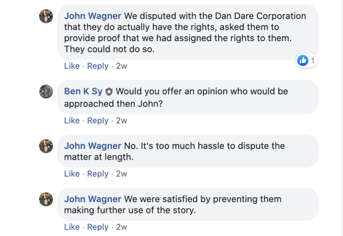 John Wagner noted that he had contested the Dan Dare Corporation's claimed ownership of Doomlord in a Facebook group post in April 2020