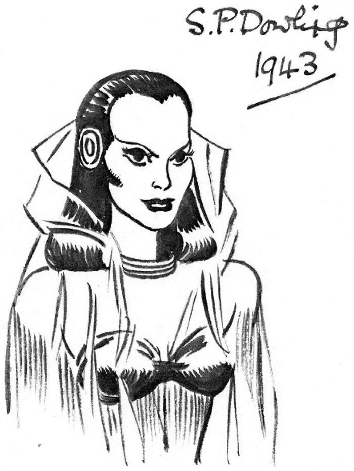 An original private  sketch of the character Ola by Stephen Dowling, who appeared in the very first Garth story. The sketch has never previously been  published.