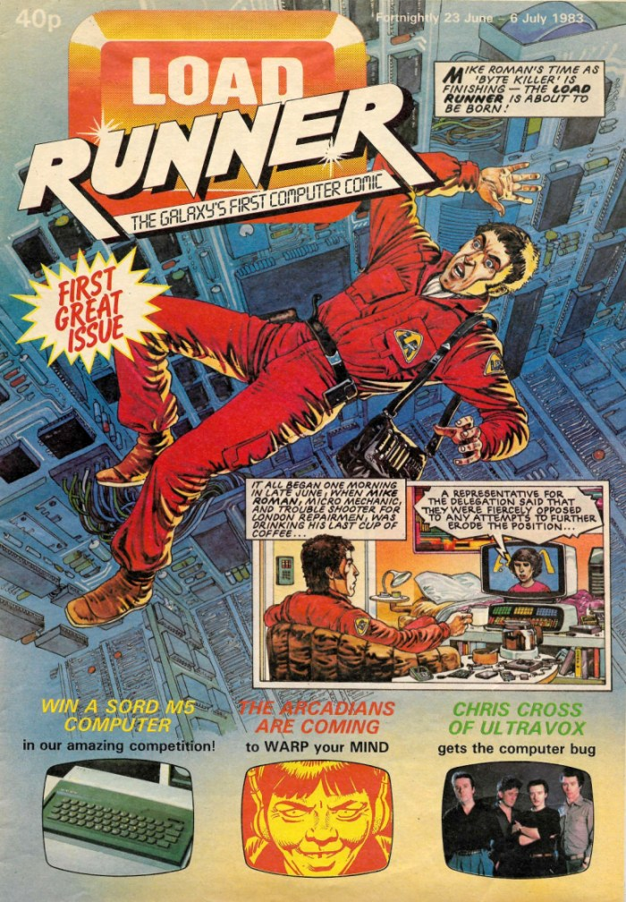 Load Runner Issue One, cover dated 6th July 1983. Strip art by Peter Harris