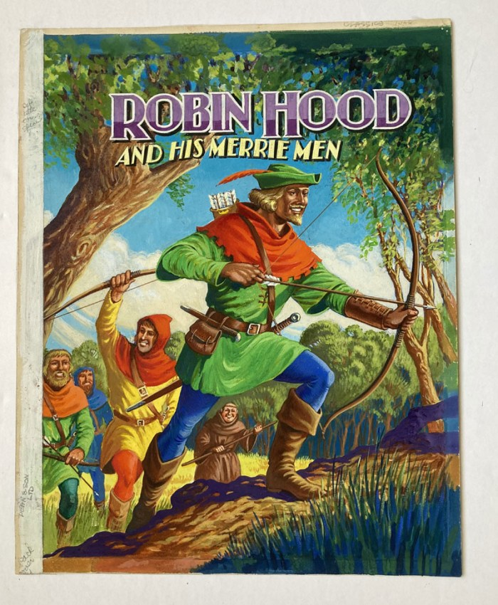 Robin Hood and His Merrie Men original front cover artwork for the book by Dean & Sons (1965). Artist Unknown