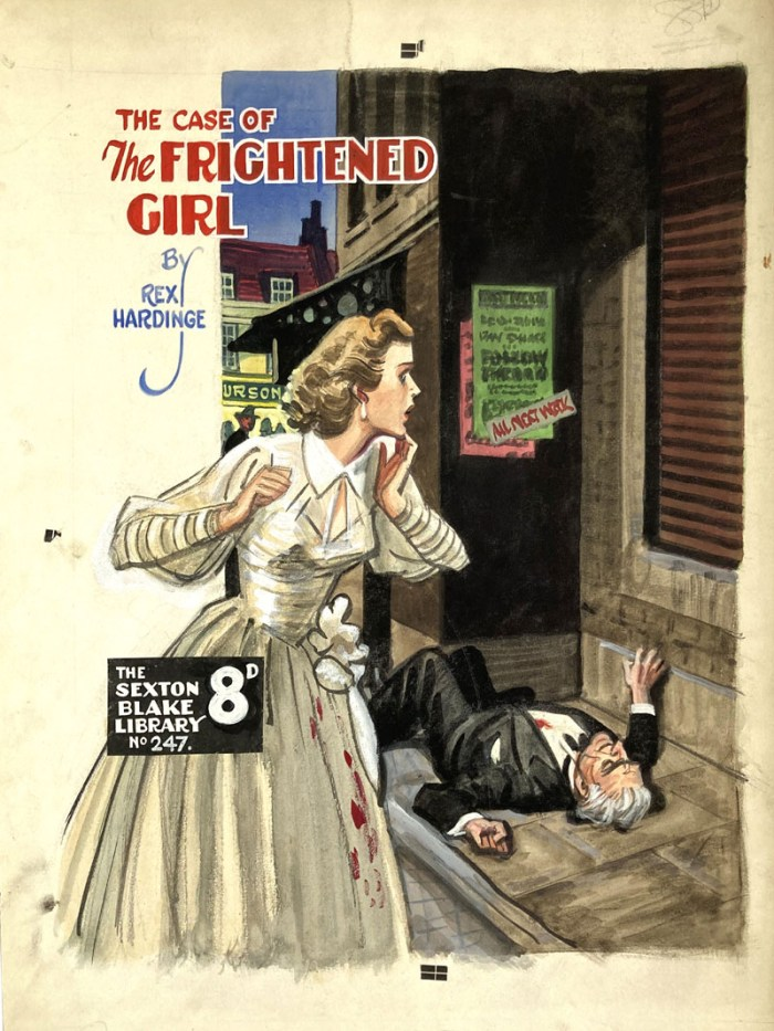 """Sexton Blake - The Case of the Frightened Girl"" original cover artwork by Eric Parker for Sexton Blake Library No 247 (1940s). From the Eric Parker Archive. Poster colour on board. 20 x 14 ins"