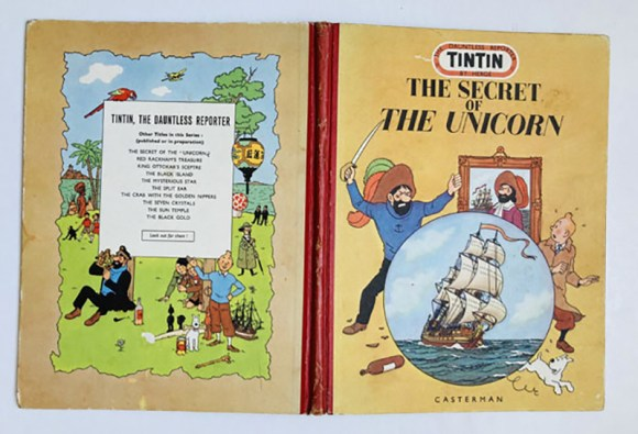 The Secret of the Unicorn by Herge (1952 Casterman) - a scarce English edition of the adventures of that dauntless reporter, Tintin
