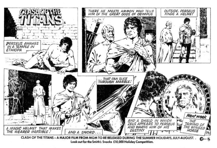 1981 Clash Of The Titans film strip promotion, with black and white art by Modesty Blaise artist Patrick Wright