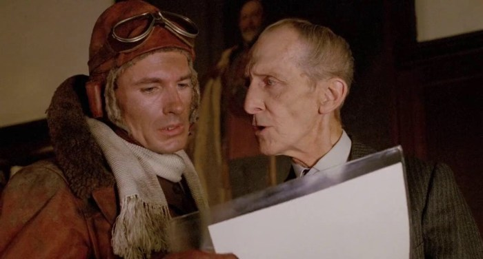 Neil Dickson as Lieutenant James 'Biggles' Bigglesworth and Peter Cushing as Air Commodore William Raymond in a scene from Biggles: Adventures in Time