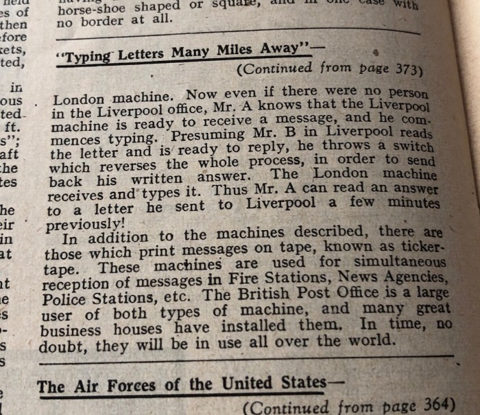 Meccano Magazine, November 1944 - Teleprinter Article