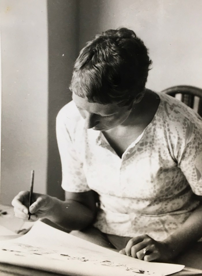 Artist Christine Ellingham at work in the early 1970s, working in Spain, using her right hand at this point. Photo courtesy Christine Ellingham
