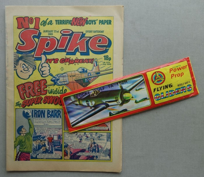 Spike No. 1 - cover dated 22nd January 1983, plus free glider gift