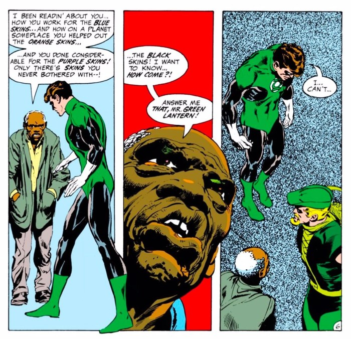 Excerpt from Green Lantern #76. Photo: Neal Adams; Cornelia Adams; and John Costanza / DC Entertainment