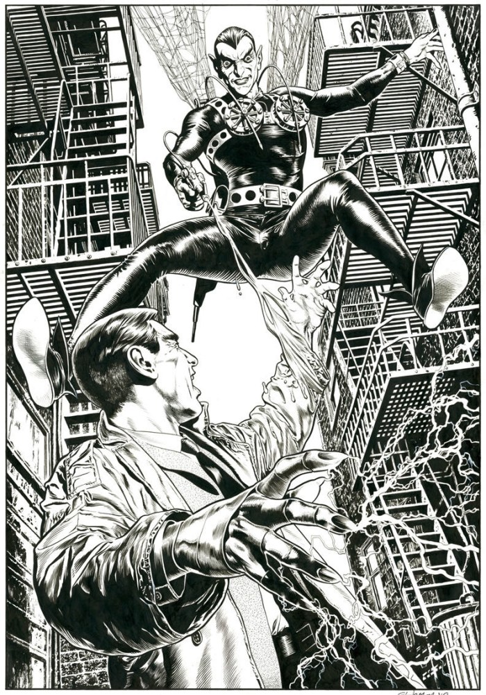 """The Spider versus The Steel Claw by Chris Weston, a 2012 private commission. """"I don't mind drawing superheroes when they are British and creepy,"""" said Chris at the time."""