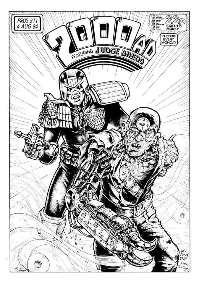 "Kev Crossley's homage to 2000AD Prog 377 by Ron Smith. Kev says the cover  ""was the first 2000AD comic I ever saw, and it made a lasting impression. So I thought I'd include it in my current 'Lockdown Project'. I can't do better than Ron, so I didn't even try to emulate his inking style. Instead I riffed off his composition, re-sizing and re-arranging it to better fit this A4 template."""