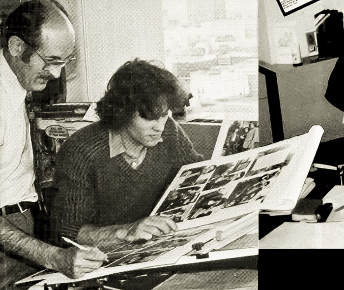 John Jackson (left) at work on pages of the relaunched Eagle in 1982 with fellow staffer Paul Bensberg. Image from the 1983 Eagle annual