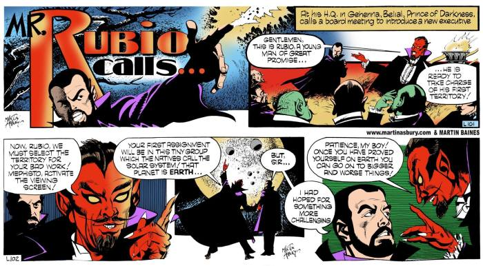 Garth - Mr Rubio Calls. L101 - L102. Art by Martin Asbury, coloured by Martin Baines