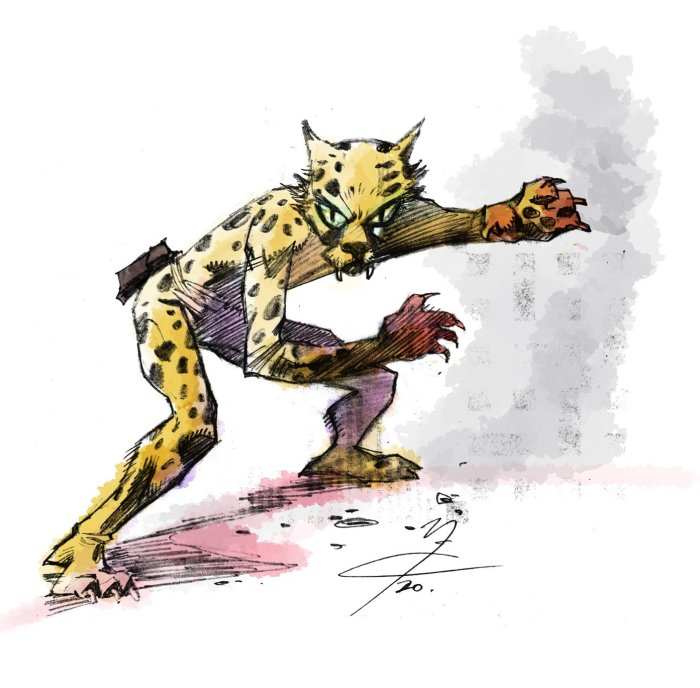 """After reading 'The Leopard from Lime Street"" I did a quick sketch,"" says John of this piece he posted to Twitter earlier this year, ""then round to  see PJ Holden  and he let me colour it on ClipStudioPaint using their fantastic watercolour brushes...such a great strip by Tom Tully, Mike Western and Eric Bradbury!"""