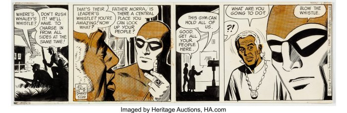 """Art for another episode of The Phantom story """"The Jungle Home"""", re-telling the characters origin, first published 24th March 1969. Story by Lee Falk, art by Sy Barry. Image: Heritage Auctions"""
