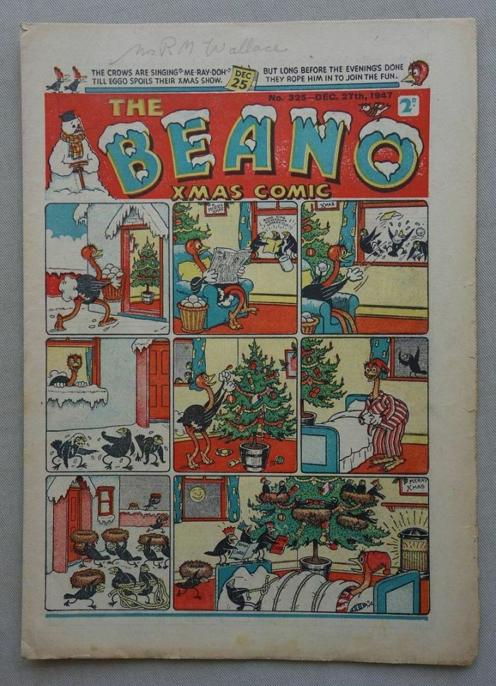 """Beano 325, cover dated 27th December 1947 and the first to feature """"Biffo the Bear"""" inside"""