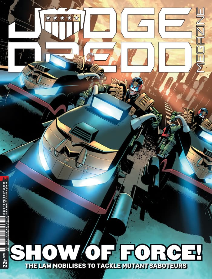 Final cover of Judge Dredd Megazine 422 - still on sale!